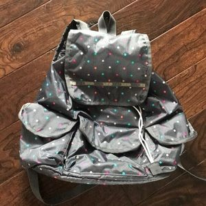Lesportsac Backpack - multi dots on grey